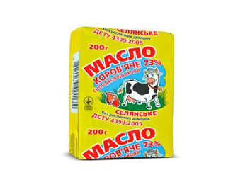 Масло солодковершкове селянське коров'яче, 73% жиру, 200 г