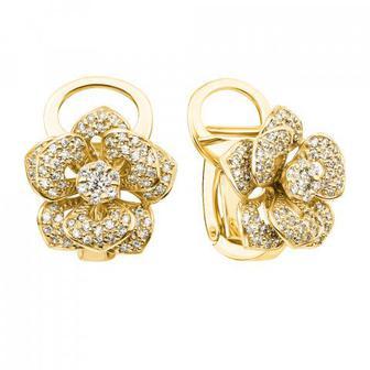 Золотые серьги «Цветок» с бриллиантами