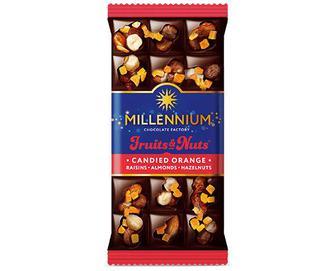 Шоколад чорний Millennium Fruits & Nuts, мигдаль-апельсинові цукати, 80г