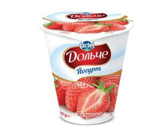 Йогурт «Дольче» з наповнювачем полуниця, 3,2% жиру, 280г