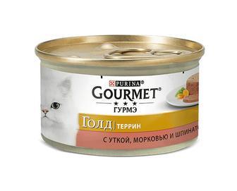 Корм для котів Gourmet Gold, террін з качкою, морквою та шпинатом, 85г
