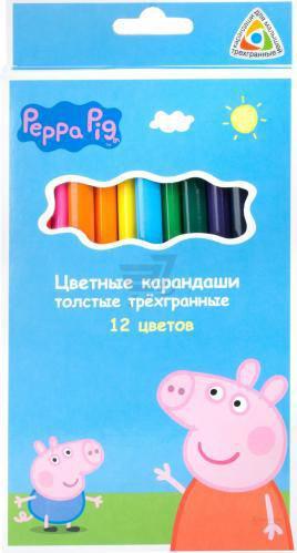Олівці кольорові 12 шт. товсті тригранні Свинка Пеппа Peppa