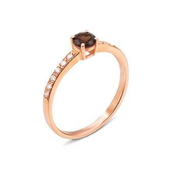 Золотое кольцо с раухтопазом и фианитами. Артикул 530007/раух с