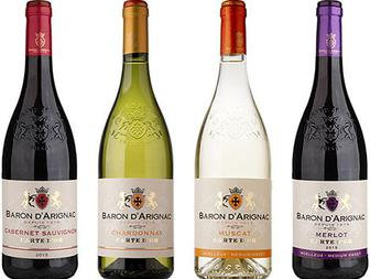 Вино напівсолодке біле, червоне, сухе Барон д'Ариньяк 0.75л