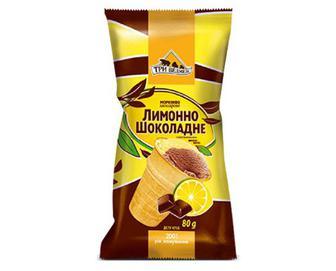 Морозиво «Три Ведмеді» двошарове лимон-шоколад у вафельному стакані, 80г