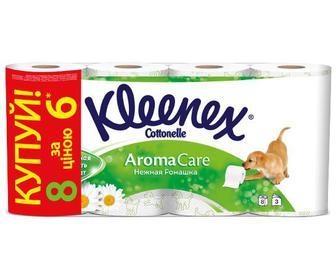 Папір туалетний Kleenex «Ніжна ромашка» 3-шаровий, 6+2 рулони/уп