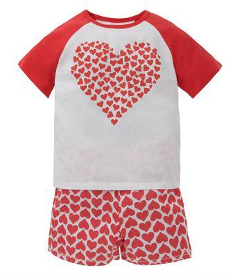 Піжама з шортами з принтом сердечок від Mothercare