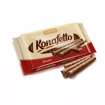 Вафельні трубочки Konafetto з начинкою крем-какао, Рошен, 156 г