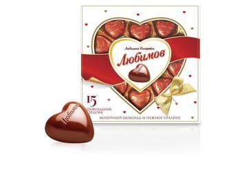 Цукерки Любимов молочний шоколад з горіховим праліне 208г