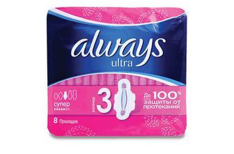 Прокладки гігієнічні, 6шт, 7шт, 8шт, 10шт, Always