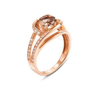 Золотое кольцо с раухтопазом и фианитами. Артикул 530055/раух