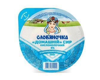 Сир кисломолочний Слов'яночка «Домашній» 5% жиру, 270г