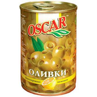Оливки Oscar зелені з лимоном 300г