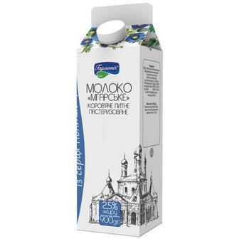 Молоко пастеризованное 2,5% Мгарское, Гармония, 900г