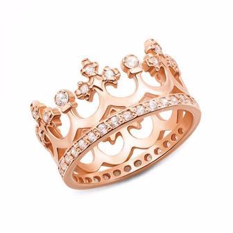 Золотое кольцо Корона с фианитами. Артикул 11920