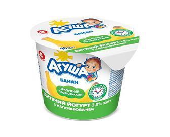 Йогурт дитячий «Агуша» банан 2,8% жиру, 90г