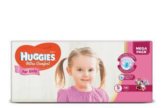 Підгузки Huggies Ultra Comfort для дівчаток 5 (12-22 кг) 56 шт