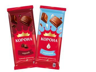 Шоколад чорний/молочний Корона 85г