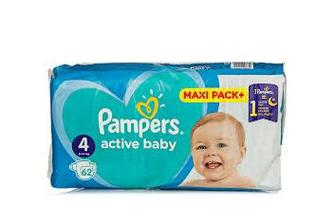 Подгузники PAMPERS Active Baby-Dry р4 9-14кг 62шт
