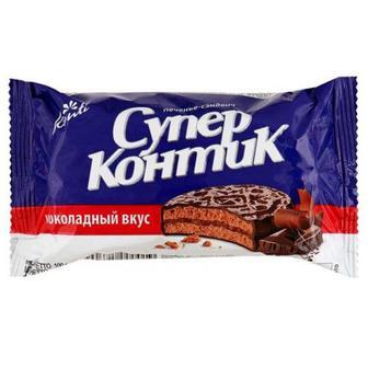 Печиво Супер-контік шоколад-горіх, молоко-горіх, шоколад Konti 100г