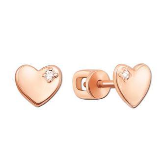 Золотые пуссеты «Сердце» с фианитами. Артикул 21672/375