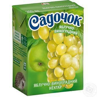 Соки та нектари Яблучно-виноградний, Мультифруктовий, Персиковий 0,2л