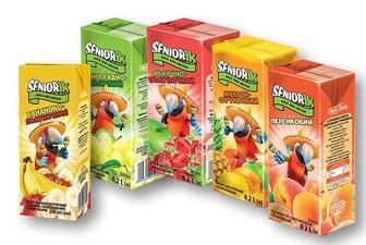 Сік/ Нектар Seniorik яблучно-полуничний/персиковий/ бананово- полуничний з м'якоттю/виноградно-яблучний/мульти-фруктовий Своя Лінія 200 мл