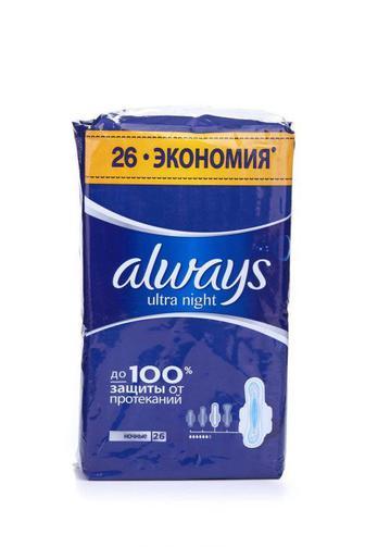 Прокладки для критических дней Always ultra с ароматом night, 26шт