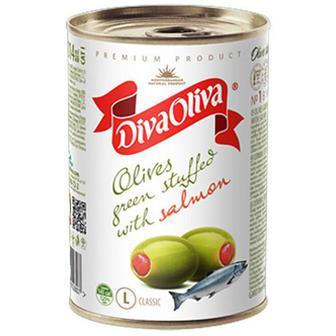 Оливки Diva Oliva зелені з сьомгою 300г