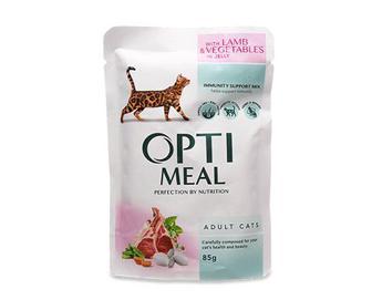 Скидка 24% ▷ Корм для дорослих котів Optimeal, ягня та овочі в желе, 85г