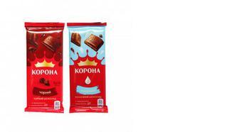 Шоколад чорний/молочний, Корона, 85г