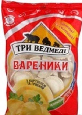 Вареники з картоплею та грибами , Три ведмеді, 1 кг
