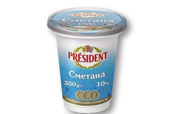 Сметана 10% President 350 г