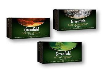 Чай Golden Ceylon/ Earl Grey Fantasy чорний/ Flying Dragon зелений Greenfield 25 ф/п х 2г