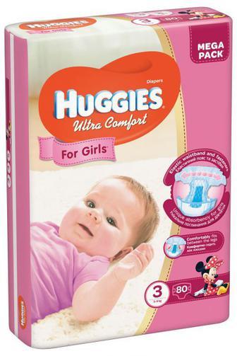 Підгузки Huggies Ultra Comfort Для дівчат Розмір 3 (5-9 КГ) 80 шт