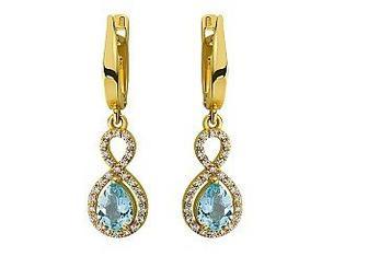 Золотые серьги с голубыми топазами и фианитами