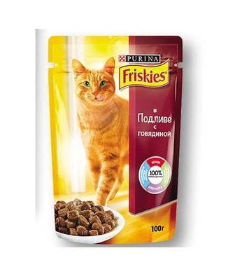 Корм консервований, з яловичиною у підливці/ для кошенят, з куркою у підливці Friskies 100 г