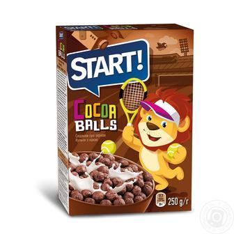Готовий зерновий сніданок Start кульки з какао 300г