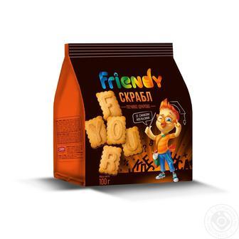 Печенье Friendy сахарное со вкусом апельсина Скрабл, 100г