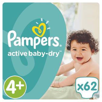 Підгузники Pampers Active Baby Maxi+ Jumbo Pack, 62шт,уп
