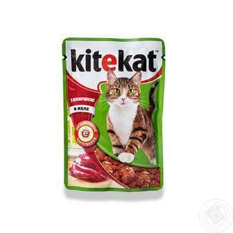 Корм консервы с лососем/ с курицей/с телятиной, в соусе Kitekat 100 г