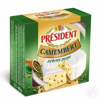 Скидка 26% ▷ Сир Камамбер звичайний або із зеленим перцем 60%  President  90 г