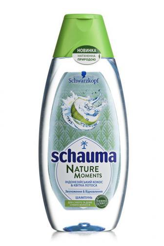 Скидка 20% ▷ Шампунь Schauma Nature Moments шампунь для сухого и очень сухого волоса Кокосовая вода & Цветок лотоса, 400 мл
