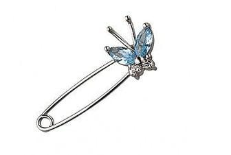 Золотая булавка Бабочка с голубой шпинелью и фианитами