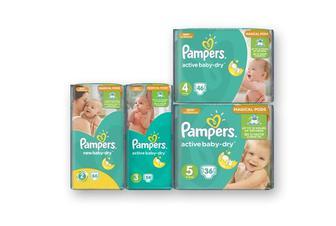 Підгузники Active Baby (2) New Baby Mini, 66 шт. Active Baby (3) Midi, 54 шт. Active Baby (4) Maxi, 46 шт. Active Baby (5) Junior, 36 шт.   Pampers
