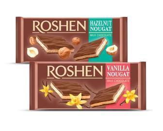 Шоколад молочний Roshen з ванільною або горіховою нугою, 90 г