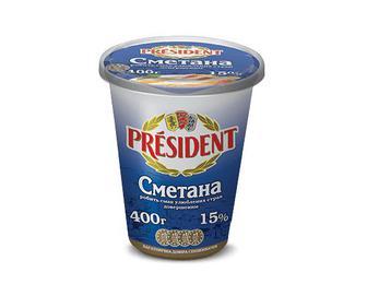 Сметана 15% жиру President, 400г