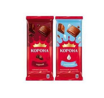 Шоколад чорний, молочний Корона 85г 90г