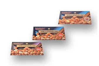 Шоколад Golden Nut, Молочний з цільним лісовим горіхом/Молочний з цільним мигдалем/Чорний з цільним лісовим горіхом  Millennium 100 г