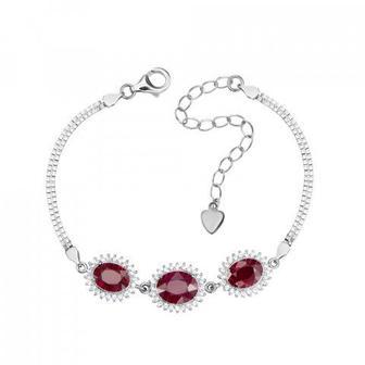 Срібний браслет з рубінами і фіанітами. Артикул NA542-B/12/9422